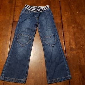 Mini Boden Girls Heart Knee Jeans Size 6